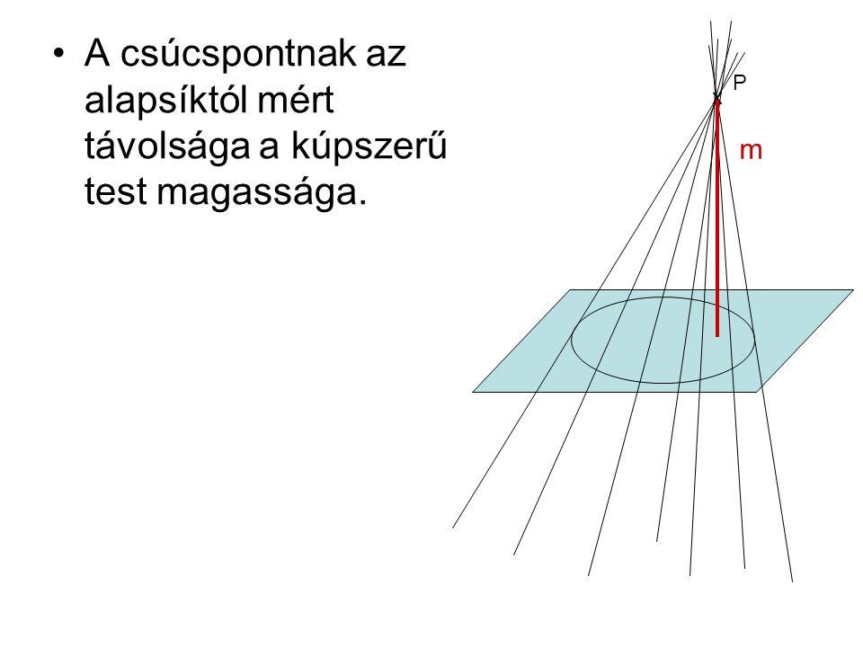 A csúcspontnak az alapsíktól mért távolsága a kúpszerű test magassága. x P m