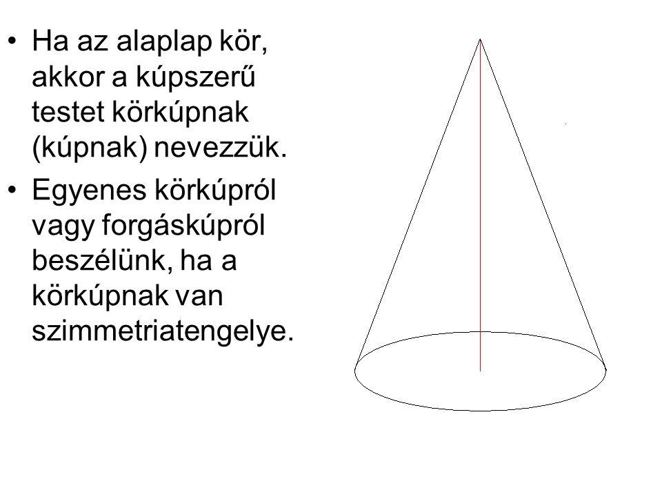 Ha az alaplap kör, akkor a kúpszerű testet körkúpnak (kúpnak) nevezzük. Egyenes körkúpról vagy forgáskúpról beszélünk, ha a körkúpnak van szimmetriate