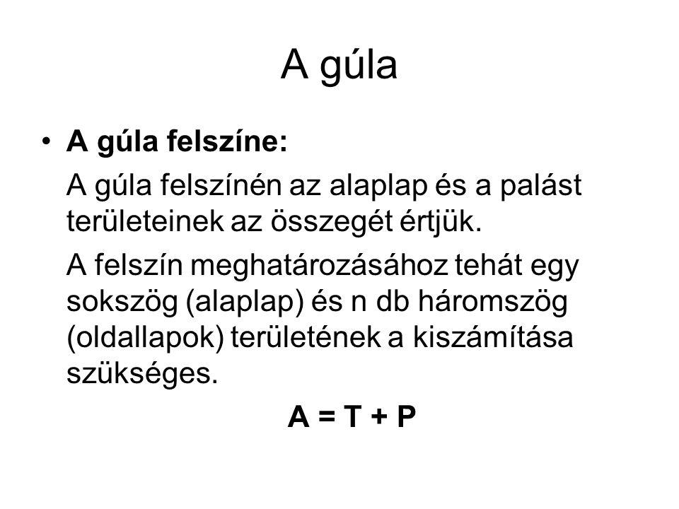 A gúla A gúla felszíne: A gúla felszínén az alaplap és a palást területeinek az összegét értjük. A felszín meghatározásához tehát egy sokszög (alaplap