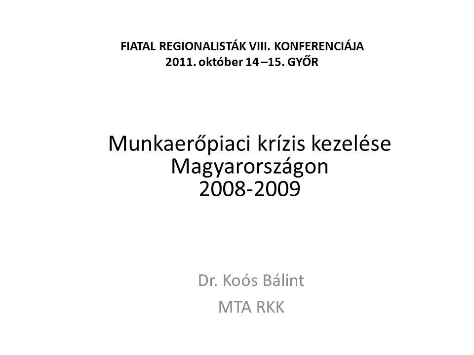FIATAL REGIONALISTÁK VIII. KONFERENCIÁJA 2011. október 14 –15. GYŐR Dr. Koós Bálint MTA RKK Munkaerőpiaci krízis kezelése Magyarországon 2008-2009