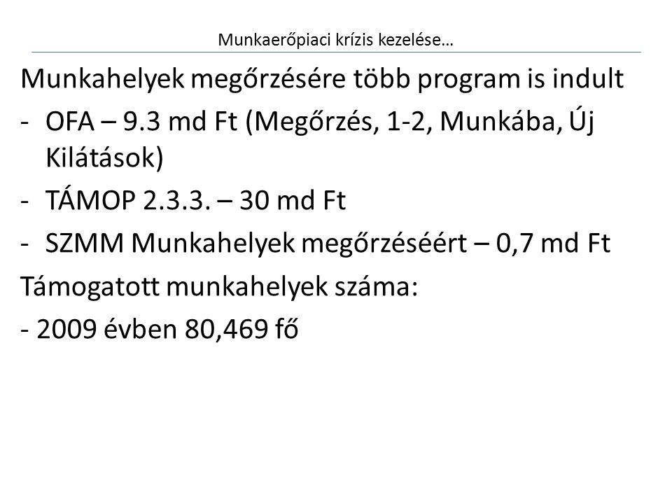 Munkaerőpiaci krízis kezelése… Munkahelyek megőrzésére több program is indult -OFA – 9.3 md Ft (Megőrzés, 1-2, Munkába, Új Kilátások) -TÁMOP 2.3.3.