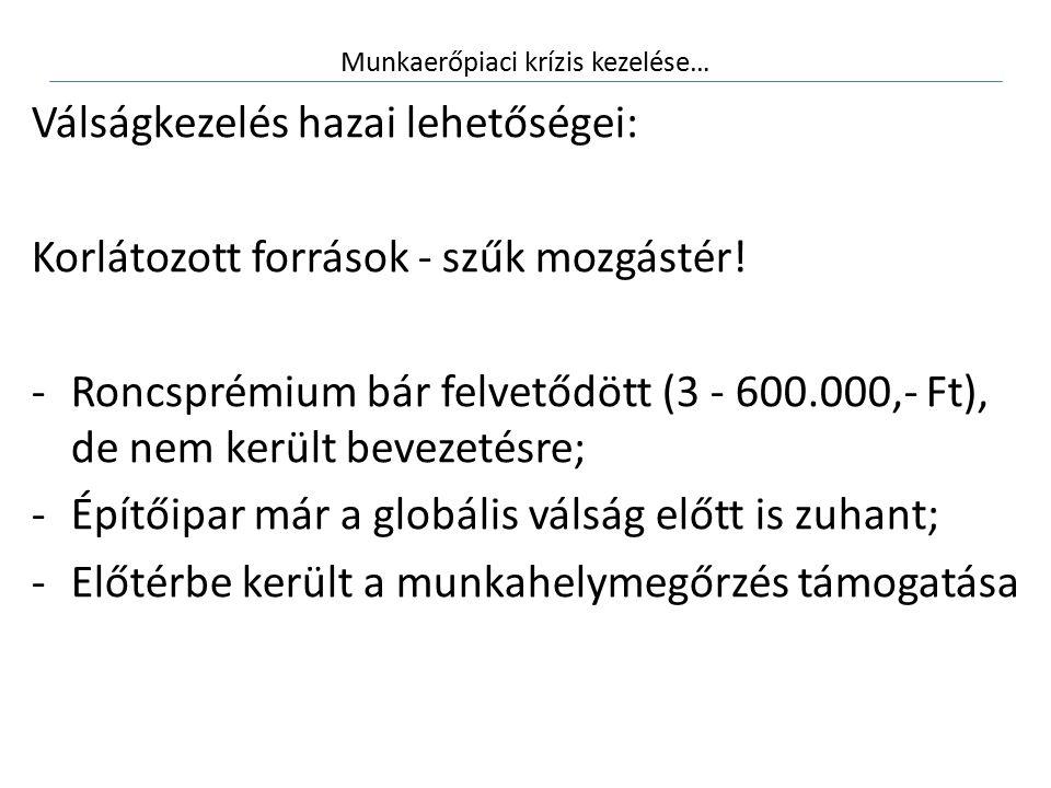 Munkaerőpiaci krízis kezelése… Válságkezelés hazai lehetőségei: Korlátozott források - szűk mozgástér! -Roncsprémium bár felvetődött (3 - 600.000,- Ft