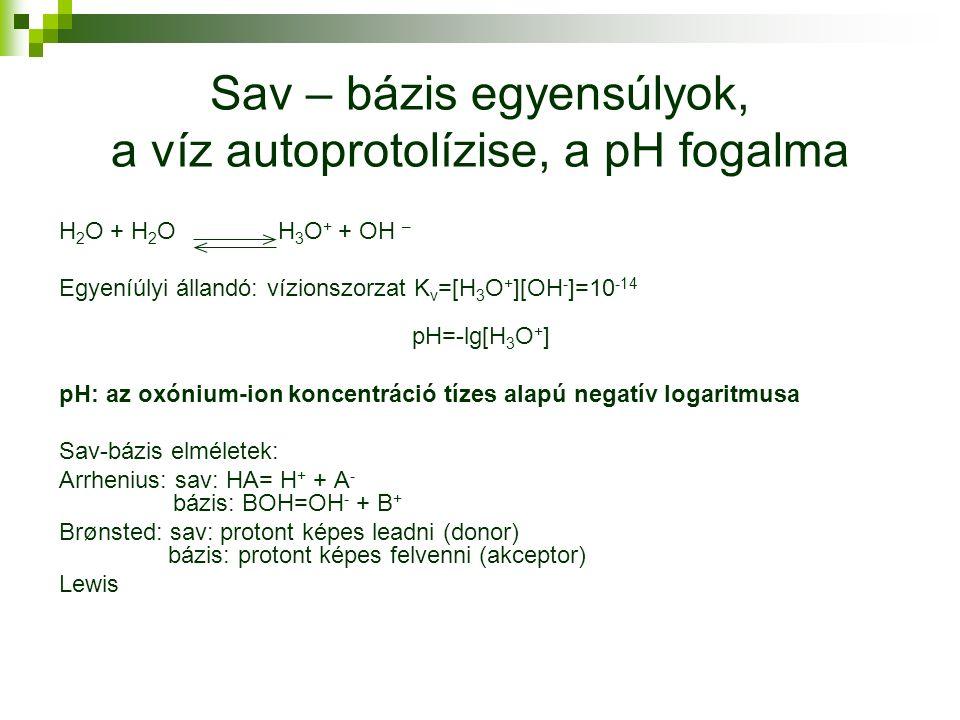 Sav – bázis egyensúlyok, a víz autoprotolízise, a pH fogalma H 2 O + H 2 O H 3 O + + OH – Egyeníúlyi állandó: vízionszorzat K v =[H 3 O + ][OH - ]=10 -14 pH=-lg[H 3 O + ] pH: az oxónium-ion koncentráció tízes alapú negatív logaritmusa Sav-bázis elméletek: Arrhenius: sav: HA= H + + A - bázis: BOH=OH - + B + Brønsted: sav: protont képes leadni (donor) bázis: protont képes felvenni (akceptor) Lewis
