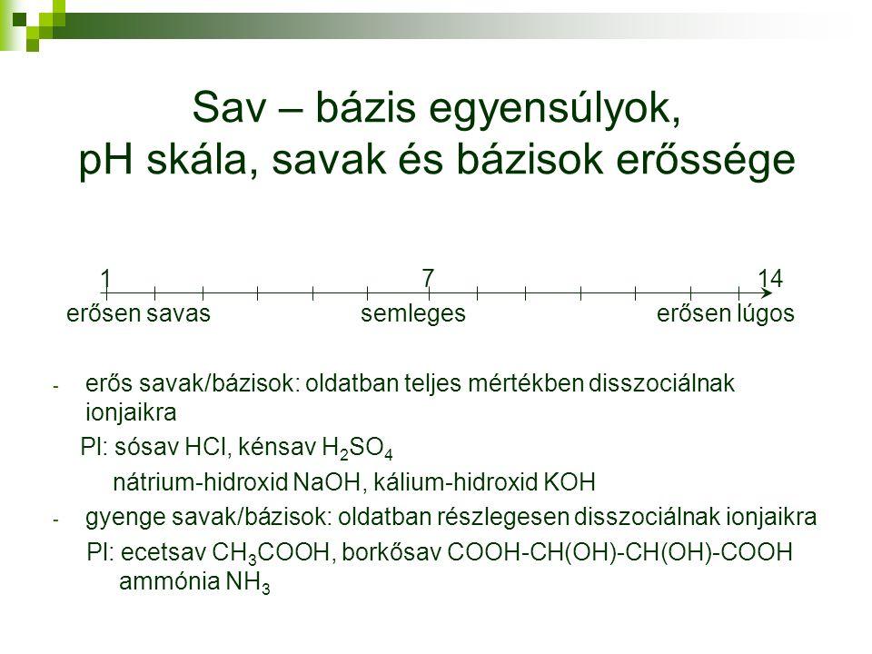 Sav – bázis egyensúlyok, pH skála, savak és bázisok erőssége 1 7 14 erősen savas semleges erősen lúgos - erős savak/bázisok: oldatban teljes mértékben disszociálnak ionjaikra Pl: sósav HCl, kénsav H 2 SO 4 nátrium-hidroxid NaOH, kálium-hidroxid KOH - gyenge savak/bázisok: oldatban részlegesen disszociálnak ionjaikra Pl: ecetsav CH 3 COOH, borkősav COOH-CH(OH)-CH(OH)-COOH ammónia NH 3