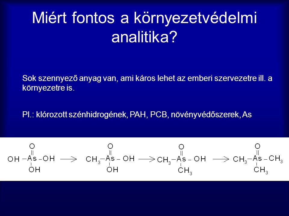 Arzén meghatározás Atomabszorpcióval Láng vagy ICP segítségével atomizálják és az atomok koncentrációját mérik Így egy össz arzén koncentrációhoz jutnak, azonban így nem határozható meg az arzén oxidációs foka Speciációs elemzés Meg kell adni a fém oxidációs fokát.