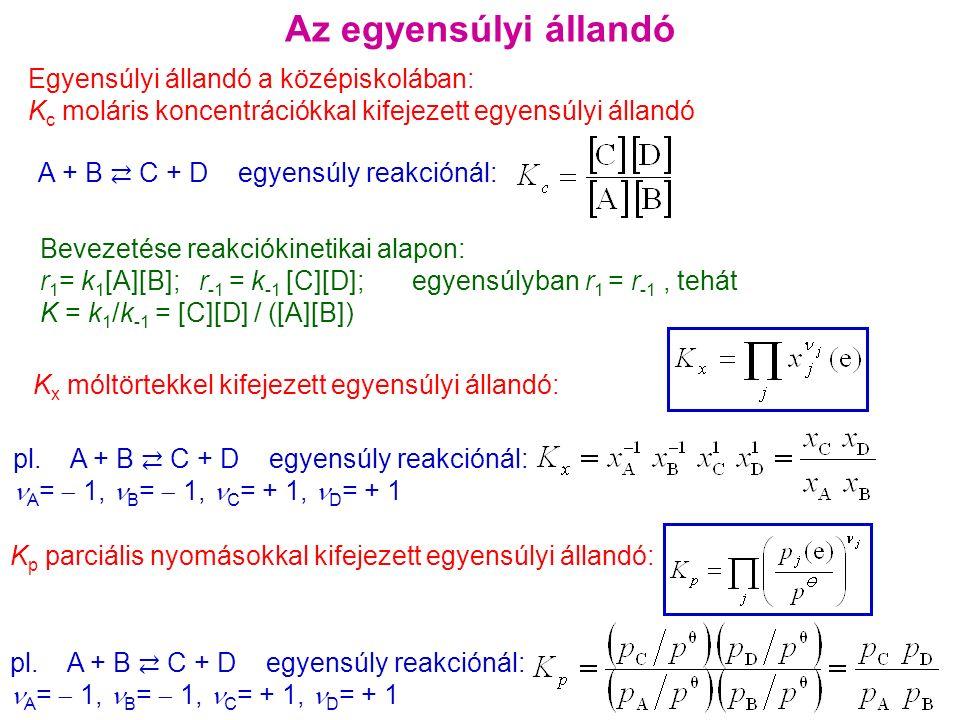 Az egyensúlyi állandó Egyensúlyi állandó a középiskolában: K c moláris koncentrációkkal kifejezett egyensúlyi állandó A + B ⇄ C + D egyensúly reakciónál: K x móltörtekkel kifejezett egyensúlyi állandó: pl.