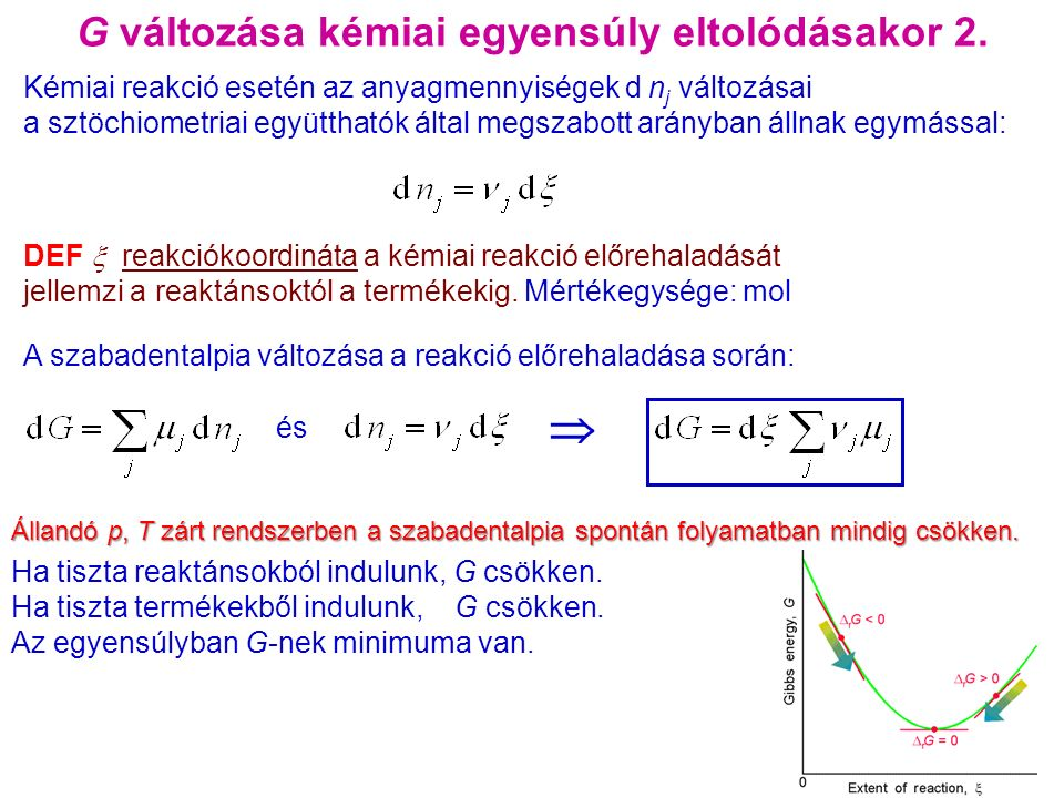 Az egyensúly eltolási lehetőségei/1 Koncentráció változtatás az egyensúlyi rendszerben sav + alkoholészter + víz K c = ▬▬▬▬▬▬ [sav] [alkohol] [észter] [víz] Egyensúlyi állapotban kétszer annyi termékek koncentrációja (azonos kiindulási koncentráció esetén) átalakulás: 67% Hogyan lehetne megnövelni a termék (észter) mennyiségét .