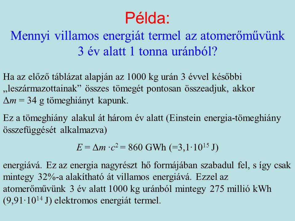Példa: Mennyi villamos energiát termel az atomerőművünk 3 év alatt 1 tonna uránból.