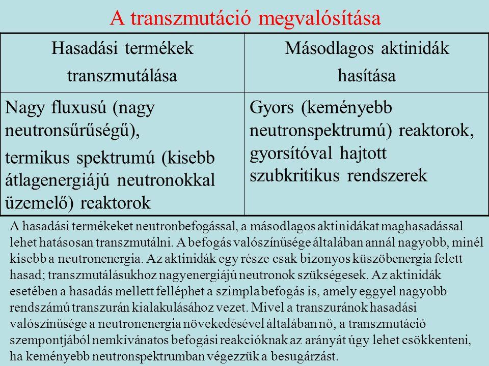 A transzmutáció megvalósítása Hasadási termékek transzmutálása Másodlagos aktinidák hasítása Nagy fluxusú (nagy neutronsűrűségű), termikus spektrumú (kisebb átlagenergiájú neutronokkal üzemelő) reaktorok Gyors (keményebb neutronspektrumú) reaktorok, gyorsítóval hajtott szubkritikus rendszerek A hasadási termékeket neutronbefogással, a másodlagos aktinidákat maghasadással lehet hatásosan transzmutálni.