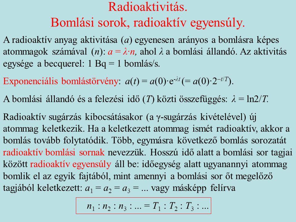 Radioaktivitás. Bomlási sorok, radioaktív egyensúly.