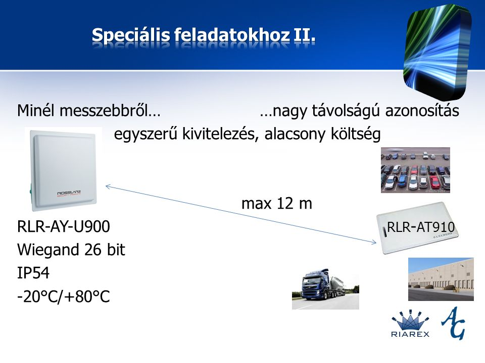 Minél messzebbről……nagy távolságú azonosítás egyszerű kivitelezés, alacsony költség max 12 m RLR-AY-U900 RLR - AT910 Wiegand 26 bit IP54 -20°C/+80°C