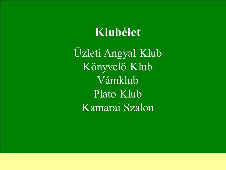 Klubélet Üzleti Angyal Klub Könyvelő Klub Vámklub Plato Klub Kamarai Szalon
