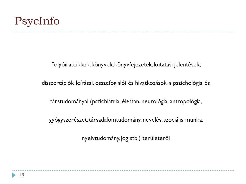 Folyóiratcikkek, könyvek, könyvfejezetek, kutatási jelentések, disszertációk leírásai, összefoglalói és hivatkozások a pszichológia és társtudományai (pszichiátria, élettan, neurológia, antropológia, gyógyszerészet, társadalomtudomány, nevelés, szociális munka, nyelvtudomány, jog stb.) területéről PsycInfo 18