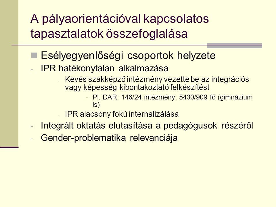 A pályaorientációval kapcsolatos tapasztalatok összefoglalása Esélyegyenlőségi csoportok helyzete - IPR hatékonytalan alkalmazása - Kevés szakképző in