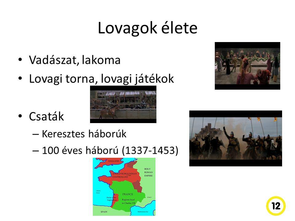 Lovagok élete Vadászat, lakoma Lovagi torna, lovagi játékok Csaták – Keresztes háborúk – 100 éves háború (1337-1453)