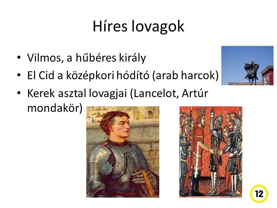 Híres lovagok Vilmos, a hűbéres király El Cid a középkori hódító (arab harcok) Kerek asztal lovagjai (Lancelot, Artúr mondakör)