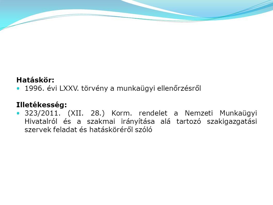 Hatáskör: 1996. évi LXXV. törvény a munkaügyi ellenőrzésről Illetékesség: 323/2011. (XII. 28.) Korm. rendelet a Nemzeti Munkaügyi Hivatalról és a szak