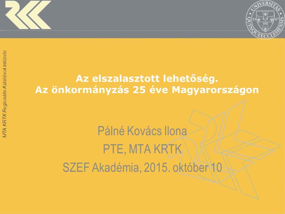 Ranking of governance quality in MSs and regions HU=19/27; HU1=Központi régió, HU2=Dunántúl