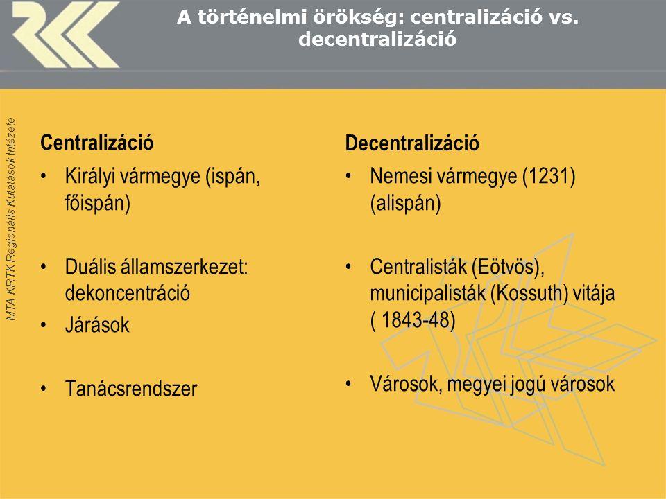 MTA KRTK Regionális Kutatások Intézete A történelmi örökség: centralizáció vs.
