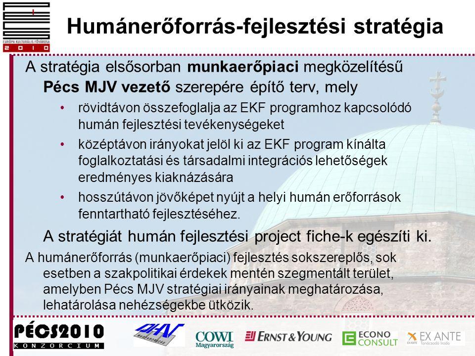 Humánerőforrás-fejlesztési stratégia A stratégia elsősorban munkaerőpiaci megközelítésű Pécs MJV vezető szerepére építő terv, mely rövidtávon összefoglalja az EKF programhoz kapcsolódó humán fejlesztési tevékenységeket középtávon irányokat jelöl ki az EKF program kínálta foglalkoztatási és társadalmi integrációs lehetőségek eredményes kiaknázására hosszútávon jövőképet nyújt a helyi humán erőforrások fenntartható fejlesztéséhez.