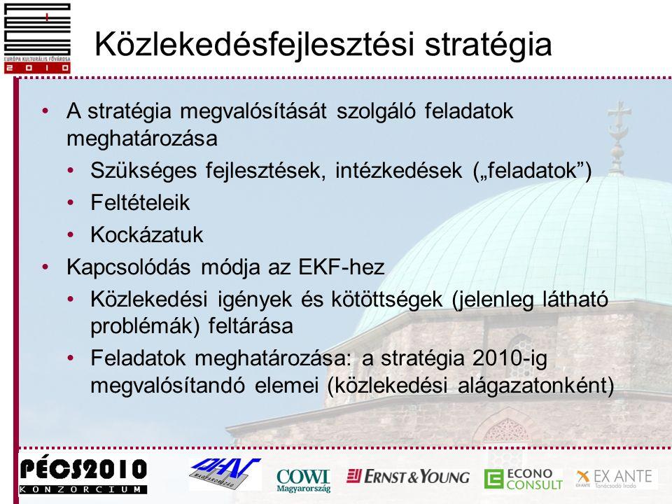 """Közlekedésfejlesztési stratégia A stratégia megvalósítását szolgáló feladatok meghatározása Szükséges fejlesztések, intézkedések (""""feladatok ) Feltételeik Kockázatuk Kapcsolódás módja az EKF-hez Közlekedési igények és kötöttségek (jelenleg látható problémák) feltárása Feladatok meghatározása: a stratégia 2010-ig megvalósítandó elemei (közlekedési alágazatonként)"""