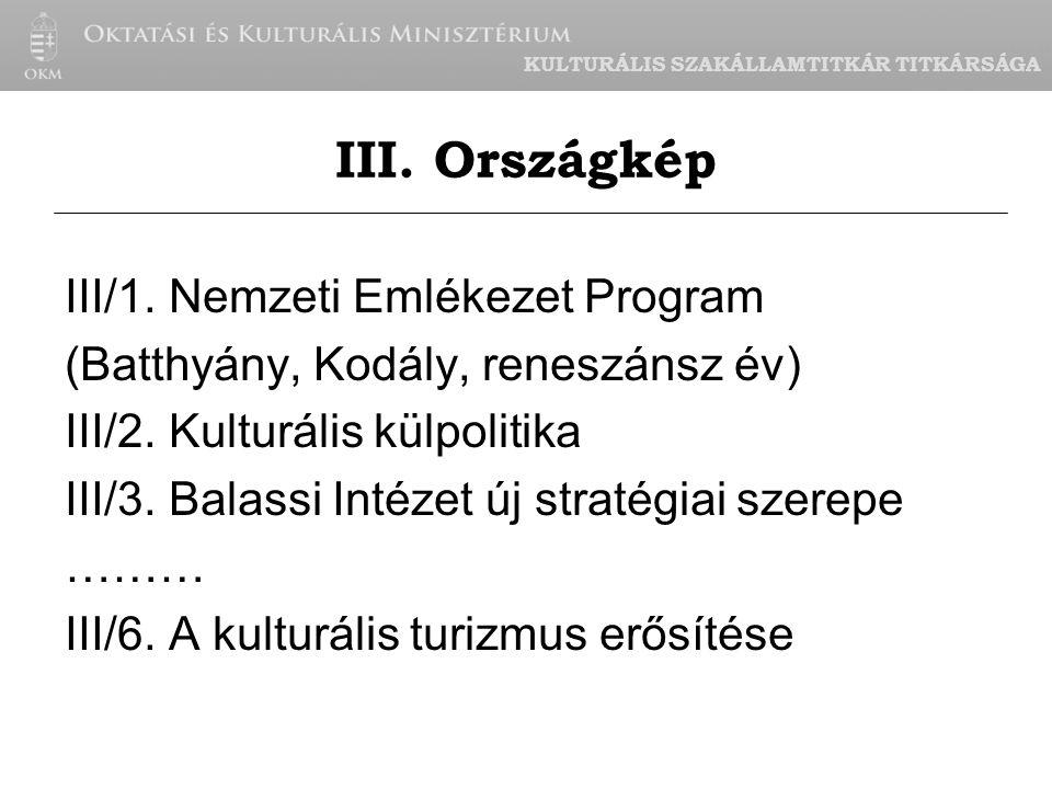KULTURÁLIS SZAKÁLLAMTITKÁR TITKÁRSÁGA III/1.