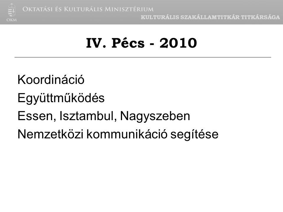 KULTURÁLIS SZAKÁLLAMTITKÁR TITKÁRSÁGA Koordináció Együttműködés Essen, Isztambul, Nagyszeben Nemzetközi kommunikáció segítése IV.