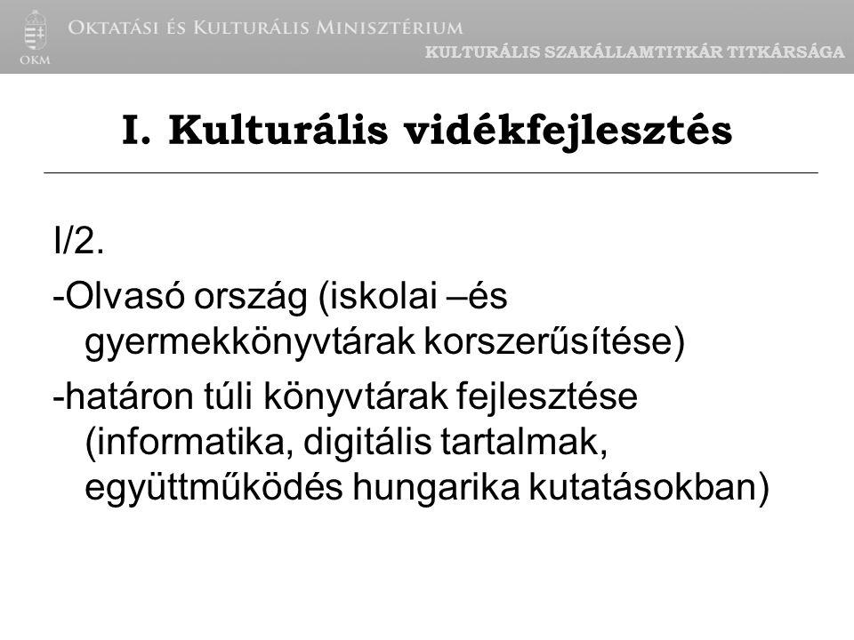 KULTURÁLIS SZAKÁLLAMTITKÁR TITKÁRSÁGA I/3.