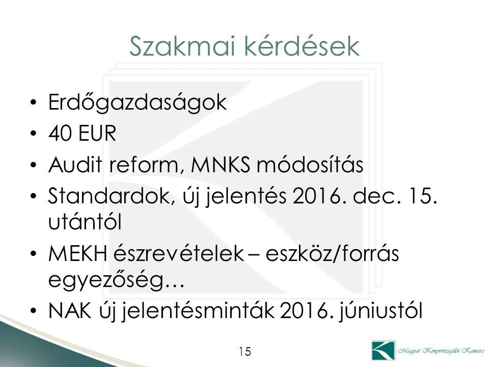 Szakmai kérdések Erdőgazdaságok 40 EUR Audit reform, MNKS módosítás Standardok, új jelentés 2016.