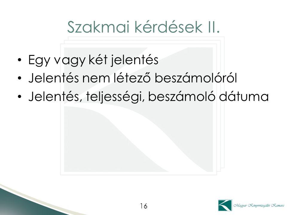 Szakmai kérdések II.
