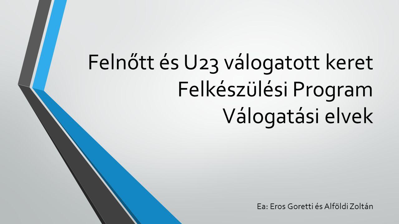 Felnőtt és U23 válogatott keret Felkészülési Program Válogatási elvek Ea: Eros Goretti és Alföldi Zoltán