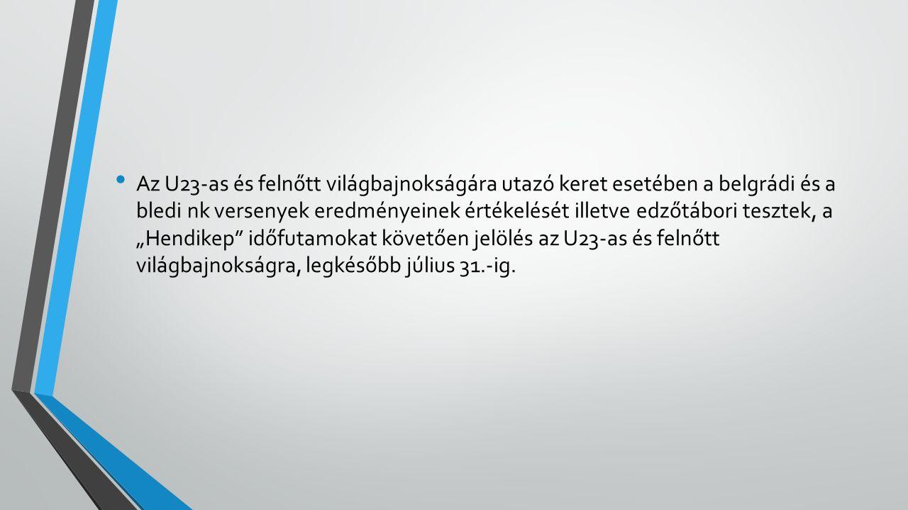 """Az U23-as és felnőtt világbajnokságára utazó keret esetében a belgrádi és a bledi nk versenyek eredményeinek értékelését illetve edzőtábori tesztek, a """"Hendikep időfutamokat követően jelölés az U23-as és felnőtt világbajnokságra, legkésőbb július 31.-ig."""