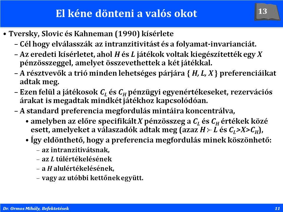 Dr. Ormos Mihály, Befektetések11 El kéne dönteni a valós okot Tversky, Slovic és Kahneman (1990) kísérlete –Cél hogy elválasszák az intranzitivitást é
