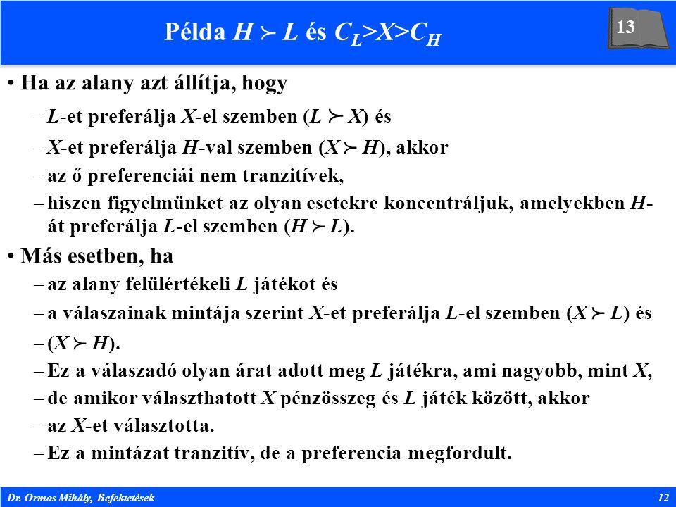 Dr. Ormos Mihály, Befektetések12 Példa H  L és C L >X>C H Ha az alany azt állítja, hogy –L-et preferálja X-el szemben (L  X) és –X-et preferálja H-v