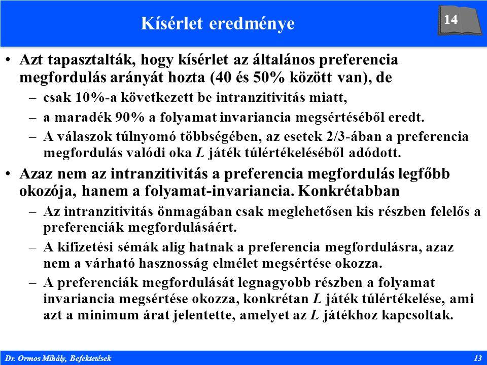 Dr. Ormos Mihály, Befektetések13 Kísérlet eredménye Azt tapasztalták, hogy kísérlet az általános preferencia megfordulás arányát hozta (40 és 50% közö
