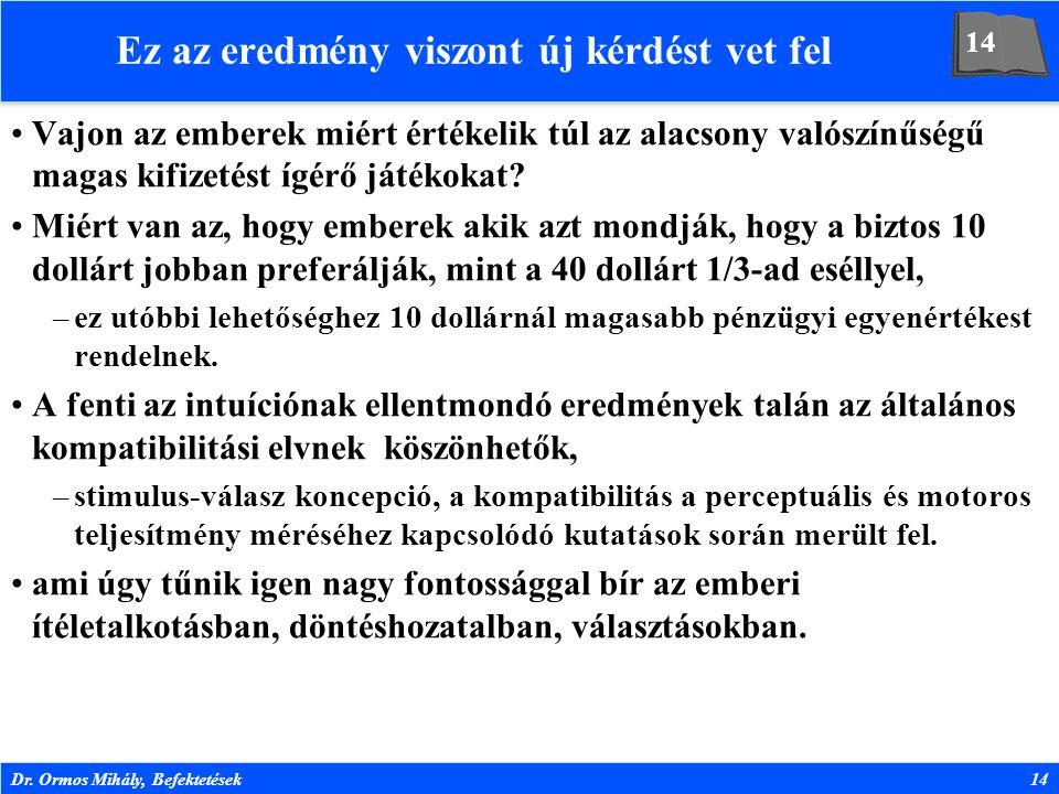 Dr. Ormos Mihály, Befektetések14 Ez az eredmény viszont új kérdést vet fel Vajon az emberek miért értékelik túl az alacsony valószínűségű magas kifize