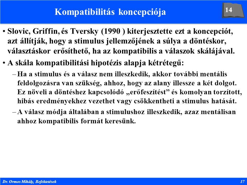Dr. Ormos Mihály, Befektetések17 Kompatibilitás koncepciója Slovic, Griffin, és Tversky (1990 ) kiterjesztette ezt a koncepciót, azt állítják, hogy a