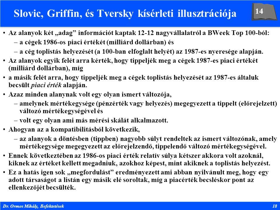 """Dr. Ormos Mihály, Befektetések18 Slovic, Griffin, és Tversky kísérleti illusztrációja Az alanyok két """"adag"""" információt kaptak 12-12 nagyvállalatról a"""