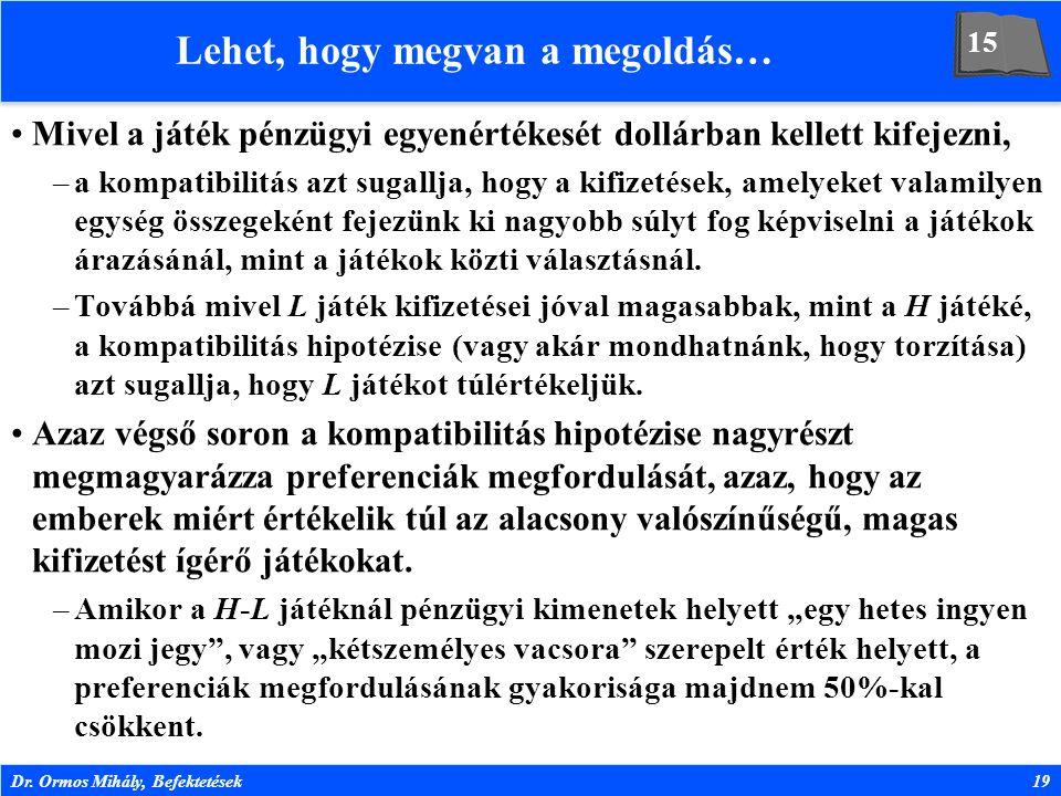 Dr. Ormos Mihály, Befektetések19 Lehet, hogy megvan a megoldás… Mivel a játék pénzügyi egyenértékesét dollárban kellett kifejezni, –a kompatibilitás a