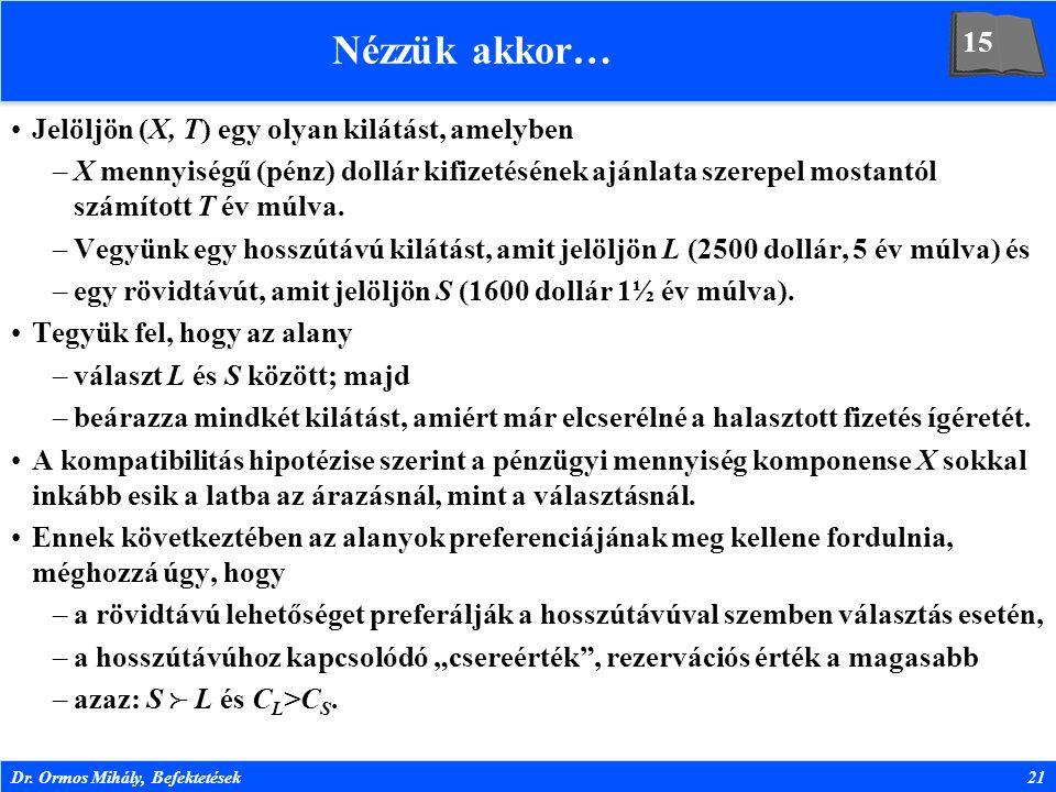 Dr. Ormos Mihály, Befektetések21 Nézzük akkor… Jelöljön (X, T) egy olyan kilátást, amelyben –X mennyiségű (pénz) dollár kifizetésének ajánlata szerepe
