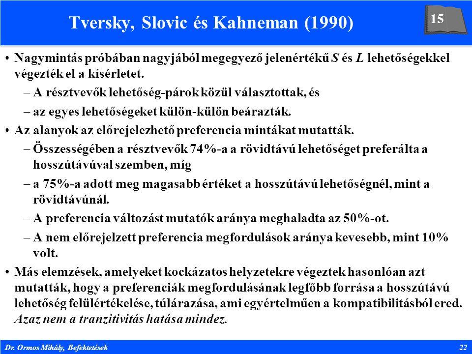 Dr. Ormos Mihály, Befektetések22 Tversky, Slovic és Kahneman (1990) Nagymintás próbában nagyjából megegyező jelenértékű S és L lehetőségekkel végezték