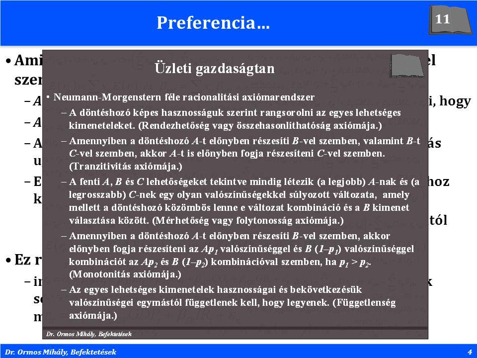 Dr. Ormos Mihály, Befektetések4 Preferencia… Amikor azt mondjuk, hogy A lehetőséget preferáljuk B-vel szemben, akkor az azt jelenti, hogy –A-t választ