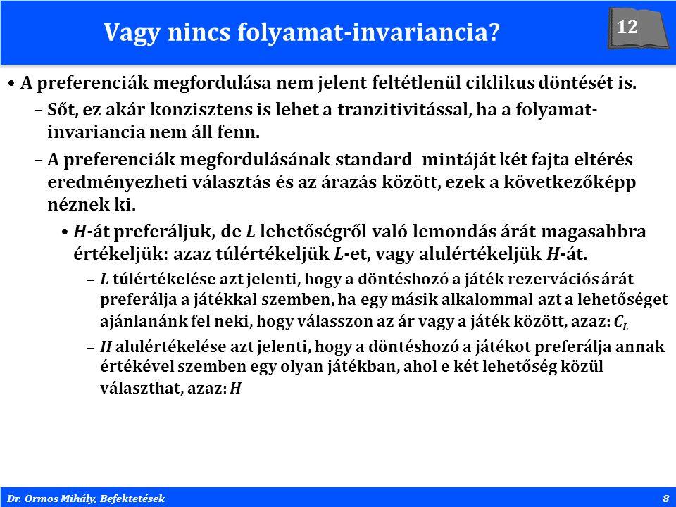 Dr. Ormos Mihály, Befektetések8 Vagy nincs folyamat-invariancia? A preferenciák megfordulása nem jelent feltétlenül ciklikus döntését is. –Sőt, ez aká