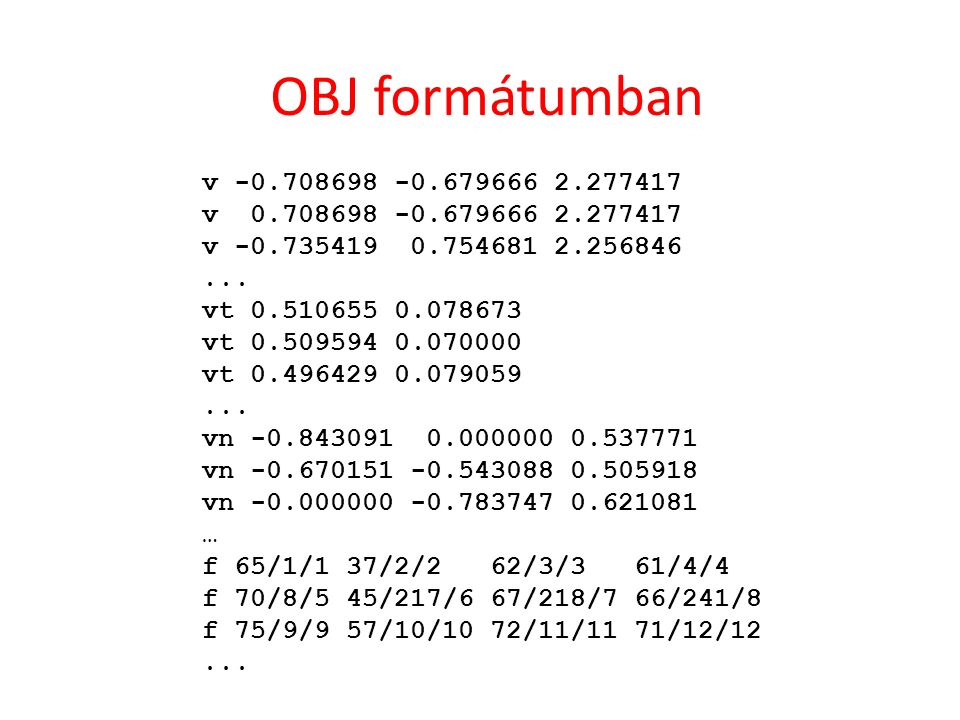 OBJ formátumban v -0.708698 -0.679666 2.277417 v 0.708698 -0.679666 2.277417 v -0.735419 0.754681 2.256846...