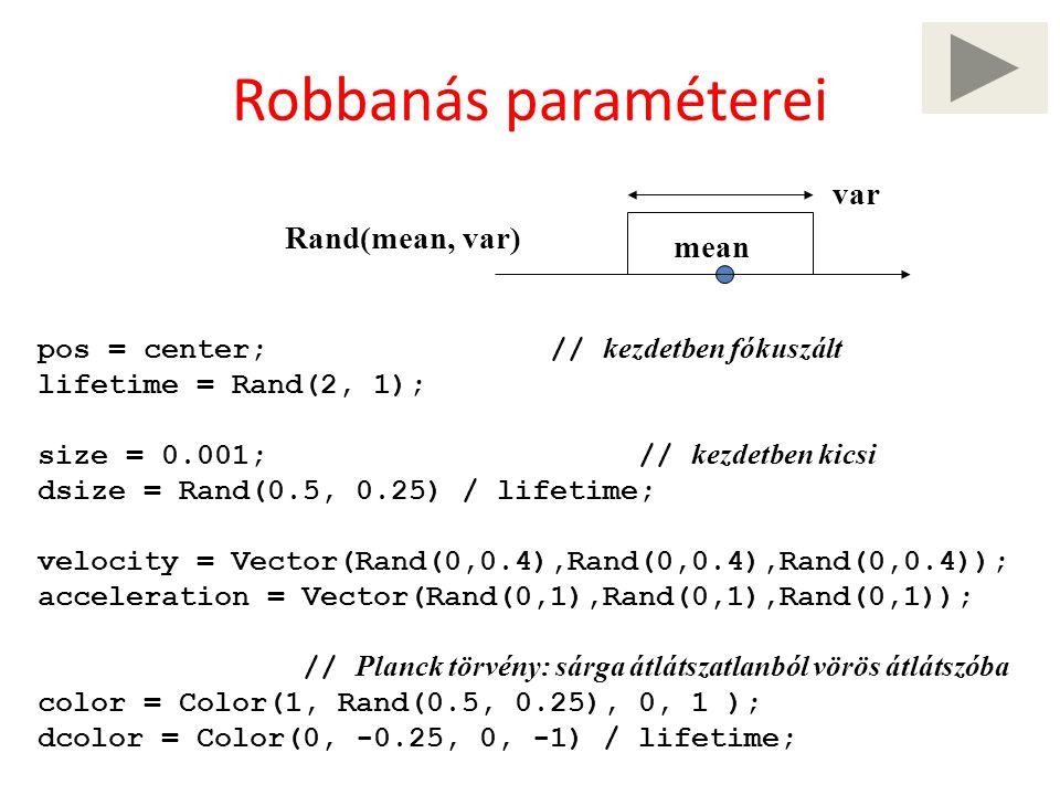 Robbanás paraméterei pos = center; // kezdetben fókuszált lifetime = Rand(2, 1); size = 0.001; // kezdetben kicsi dsize = Rand(0.5, 0.25) / lifetime; velocity = Vector(Rand(0,0.4),Rand(0,0.4),Rand(0,0.4)); acceleration = Vector(Rand(0,1),Rand(0,1),Rand(0,1)); // Planck törvény: sárga átlátszatlanból vörös átlátszóba color = Color(1, Rand(0.5, 0.25), 0, 1 ); dcolor = Color(0, -0.25, 0, -1) / lifetime; Rand(mean, var) mean var