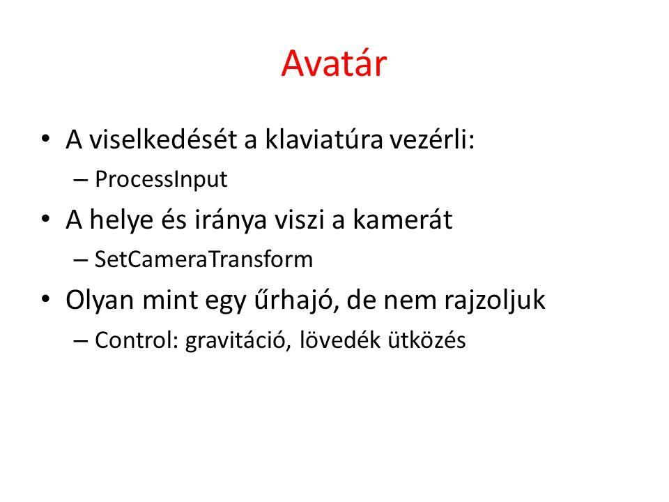 Avatár A viselkedését a klaviatúra vezérli: – ProcessInput A helye és iránya viszi a kamerát – SetCameraTransform Olyan mint egy űrhajó, de nem rajzoljuk – Control: gravitáció, lövedék ütközés