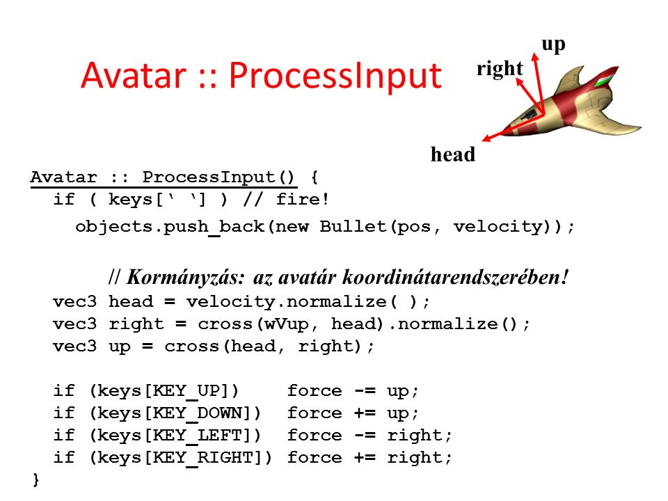 Avatar :: ProcessInput Avatar :: ProcessInput() { if ( keys[' '] ) // fire.