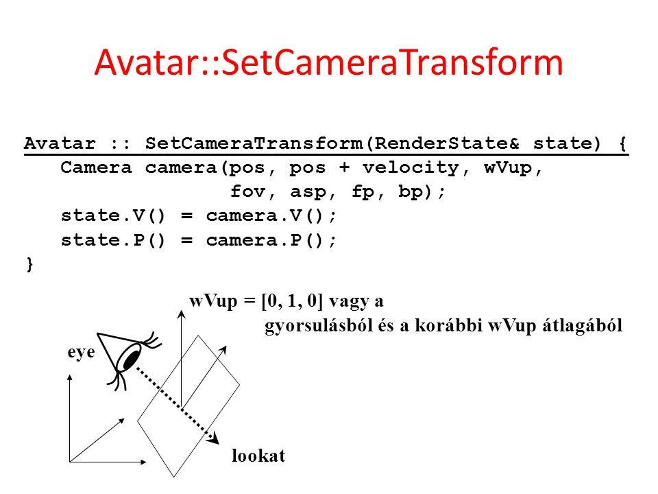 Avatar :: SetCameraTransform(RenderState& state) { Camera camera(pos, pos + velocity, wVup, fov, asp, fp, bp); state.V() = camera.V(); state.P() = camera.P(); } eye lookat wVup = [0, 1, 0] vagy a gyorsulásból és a korábbi wVup átlagából Avatar::SetCameraTransform