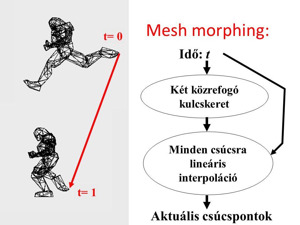 Mesh morphing: t= 0 t= 1 Két közrefogó kulcskeret Idő: t Aktuális csúcspontok Minden csúcsra lineáris interpoláció