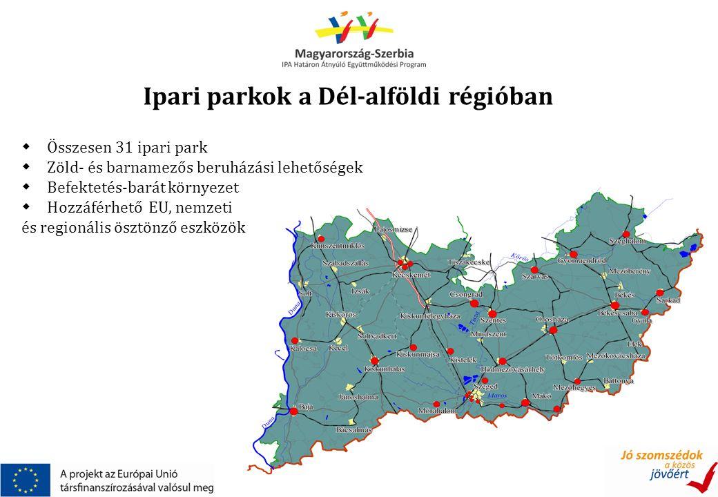 Ipari parkok a Dél-alföldi régióban  Összesen 31 ipari park  Zöld- és barnamezős beruházási lehetőségek  Befektetés-barát környezet  Hozzáférhető EU, nemzeti és regionális ösztönző eszközök